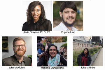 Korie Grayson, Ph.D. '20, and doctoral candidates Eugene Law, John McMullen, Manisha Munasinghe, and Johana Uribe