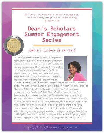 Dean's Scholar Summer Engagement Flyer