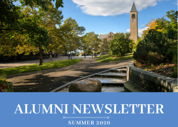 McGraw Tower with text Alumni Newsletter Summer 2020