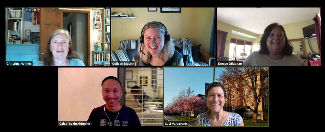 Five staff facilitators smile from Zoom windows