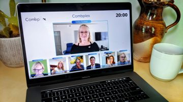 Computer screen displaying Hailey Scofield presenting for Combplex
