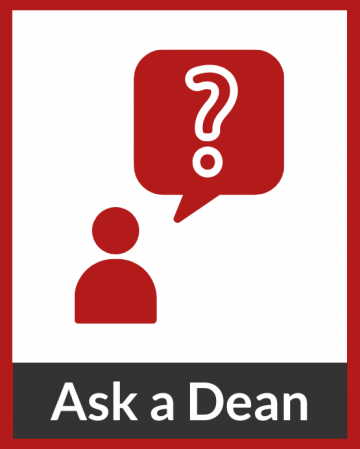 "Figure with a question mark in a speech bubble with text ""Ask a Dean"""