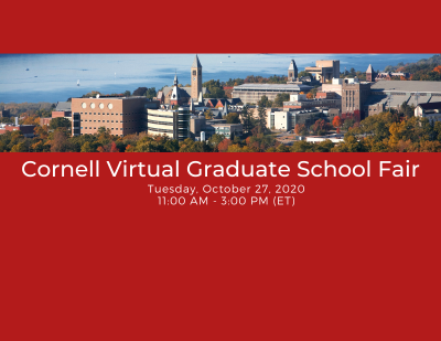 Cornell aerial panorama with text: Cornell Virtual Graduate School Fair, Tuesday, October 27, 2020, 11:00am - 3:00 pm ET