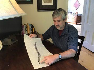 John Wyatt Greenlee looking at a print of an eel