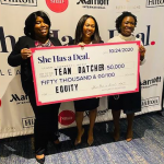 Team Datcher (Joanne Angbazo, Kristen Collins, and Lera Covington) holding a She Has a Deal giant check.