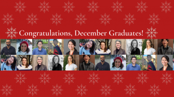 """Text reading, """"Congratulations, December graduates!"""" with snowflake graphics above, two rows of graduating doctoral student images below, and snowflake graphics below the graduates."""