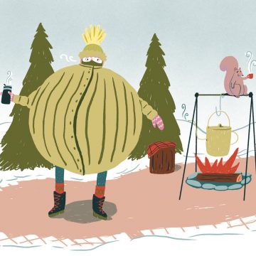 Graphic of person holding a steaming mug and wearing enough layers to make him a sphere next to a kettle over a bonfire and a squirrel holding a steaming mug.