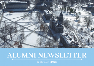 "Aerial view of snow-covered Arts Quad on Cornell's Ithaca campus. Text reading, ""Alumni Newsletter: Winter 2021"""