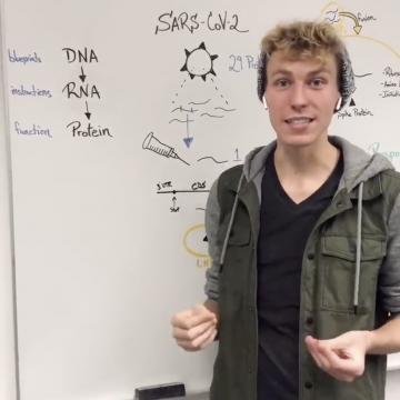 Screen shot of Rob Swanda's COVID-19 vaccine video on Twitter
