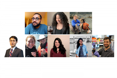 Headshots of 3MT finalists: Bhargav Sanketi, Rachel Allison, Kara Fikrig, Xiangkun (Elvis) Cao, Olivia Graham, Jessica Maya, Seema Singh, and Alan Sulpizio