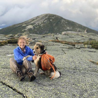 Kara Fikrig and dog on mountain