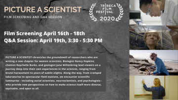Images of four women and text on a gray background, Picture a Scientist Film Screening April 16-18 and Q&A Session April 19 3:30-5:00pmET, Tribeca Film Festival 2020 Official Selection. Text description available at: https://events.cornell.edu/event/picture_a_scientist_film_viewing_and_qa_panel