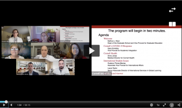 Screenshot of the Graduate School Spring 2021 Town Hall with panelists and moderators on the left side of the screen and the PowerPoint displaying the agenda on the right side.