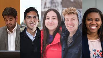 Doctoral candidates Christopher Berardino, Houston Claure, Irma Fernandez, Robert Swanda, and Tibra Wheeler