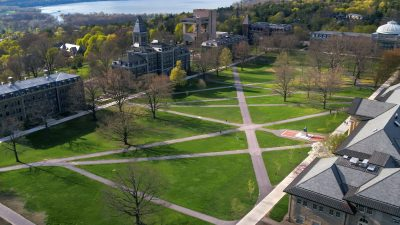 Aerial view of the Arts Quad in spring