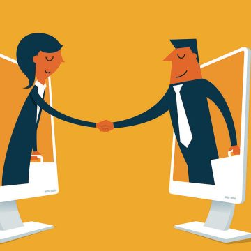 Graphic depicting two people leaning out of computer screens and shaking hands