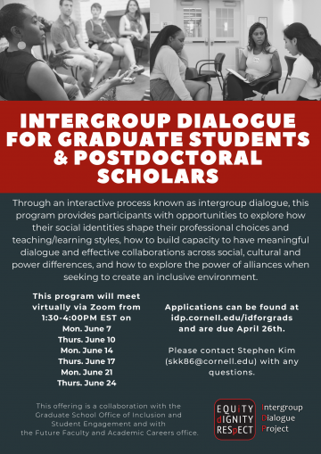 Call for applications for the 2021 Summer IDP Short Course for Grad Students and Postdocs