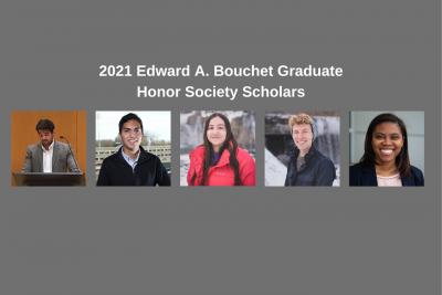 2021 Edward A. Bouchet Graduate Honor Society Scholars: Christopher Berardino, Houston Claure, Irma Fernandez, Robert Swanda, and Tibra Wheeler
