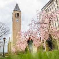 Students pass by McGraw Tower in spring