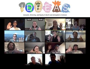 IDEEAS logo and Zoom grid of members