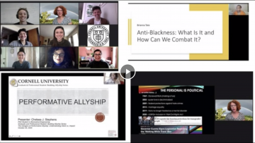 Screenshot of Building Allyship Series acceptance video for Perkins Prize Honorable Mention. Screenshot divided into four screens: Board members in Zoom grid and stills captured from three events with presentation next to presenter.
