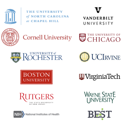 Logos for the institutions affiliated with the PLOS Bio paper