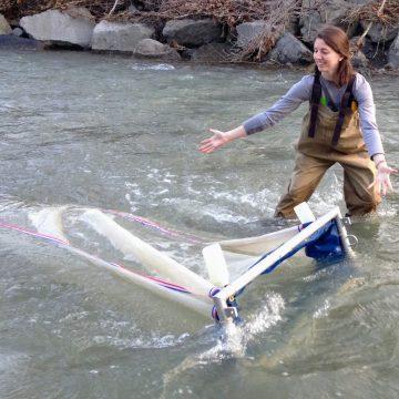 Lisa Watkins showcasing a net in the water
