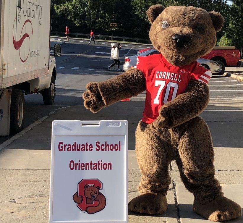 Big Red Bear gestures to Graduate School Orientation sign