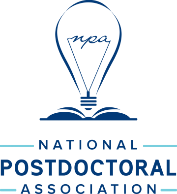 National Postdoctoral Association logo with a blue lightbulb and a book